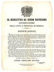 Notificazione del 12 Ottobre 1841, con la quale si fornivano disposizioni volte a limitare gli incen