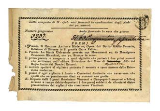 Lotto composto di N. 4005 voci formanti la combinazione degli Ambi dei 90 numeri.