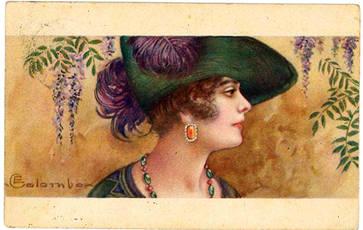 Profilo di donna con fiori e foglie