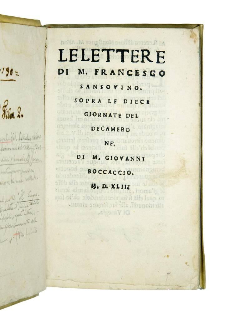 Le Lettere [...] Sopra le dieci giornate del Decamerone. Di M. Giovanni Boccaccio