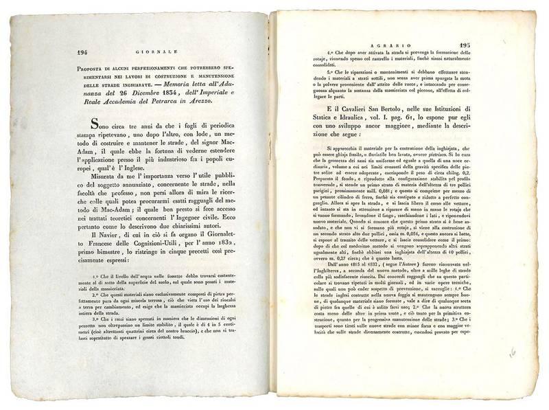 Proposta di alcuni perfezionamenti che potrebbero sperimentersi nei lavori di costruzione e manutensiine delle strade inghiarate. Memoria letta all'Adunanza del 26 dicembre 1834, dell'Imperiale e Reale Accademia del Petrarca in Arezzo.