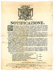 Notificazione del 14 Giugno 1782, con la quale si vietava l'acquisto o il possesso dii alcun capo di