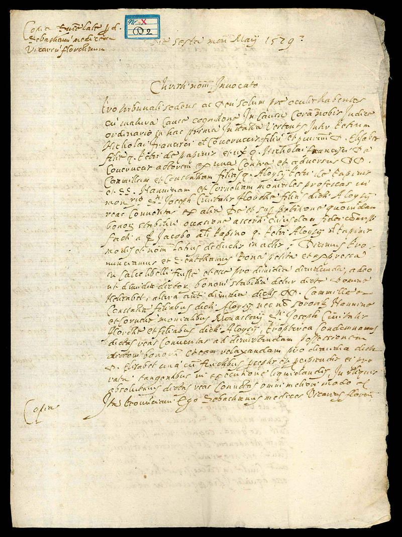 Copia di un documento legale in latino. 6 maggio 1529.