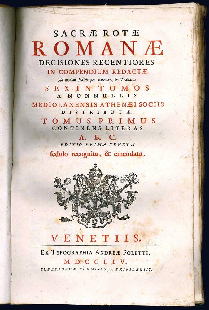 Sacrae Rotae Romanae decisiones recentiores.