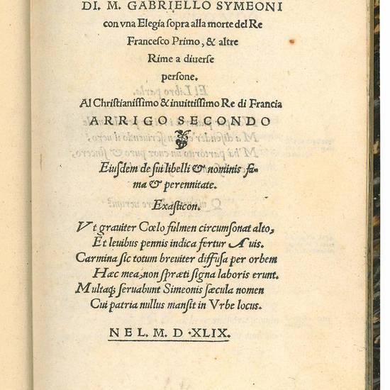 Le Satire alla berniesca [?] con una Elegia sopra alla morte del Re Francesco Primo, & altre Rime a diverse persone
