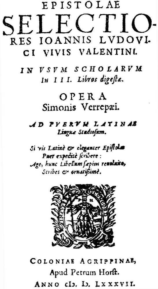 Epistolae selectiores [...] In usum scholarum in III. Libros digestae. Opera Simonis Verrepæi. Ad puerum Latinæ Linguæ Studiosum [...]