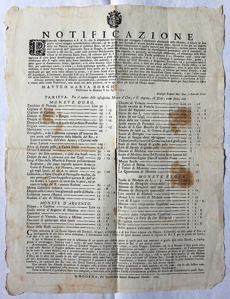 Notificazione datata 24 aprile 1739, con la quale veniva fissato il valore delle monete d'oro, d'argento ed erose