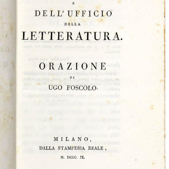Dell'origine e dell'ufficio della letteratura. Orazione
