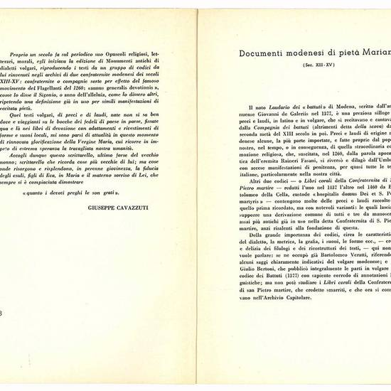 Documenti modenesi di pietà mariana.