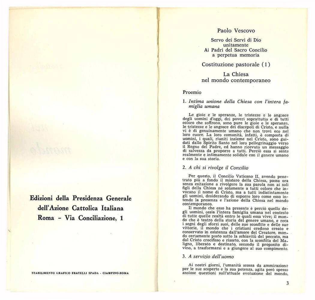 Costituzione pastorale. La Chiesa nel mondo contemporaneo. Concilio Ecumenico Vaticano II.