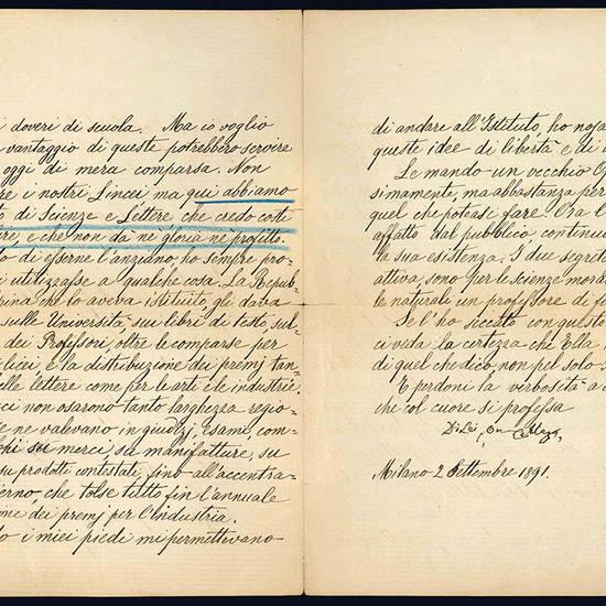 Lettera autografa. Milano: 2 settembre 1891.