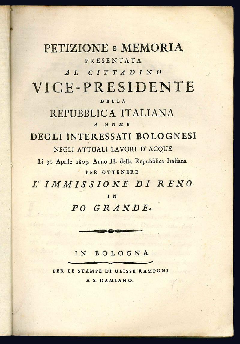 Petizione e memoria presentata al cittadino vice-presidente della Repubblica italiana.