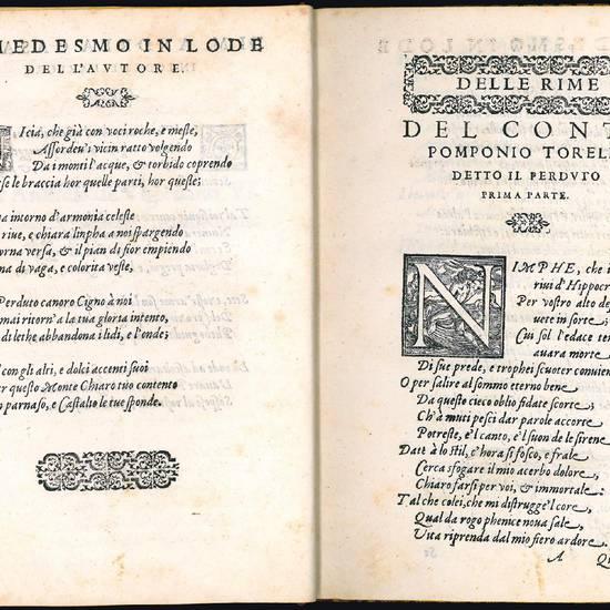Rime amorose del conte Pomponio Torelli detto il Perduto, nell?Academia de gli illustri signori Innominati di Parma