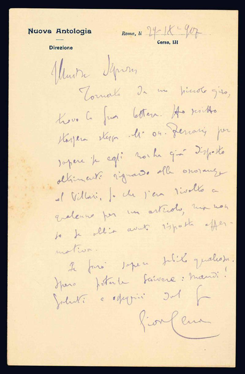 Lettera autografa. Roma: 29 settembre 1907.