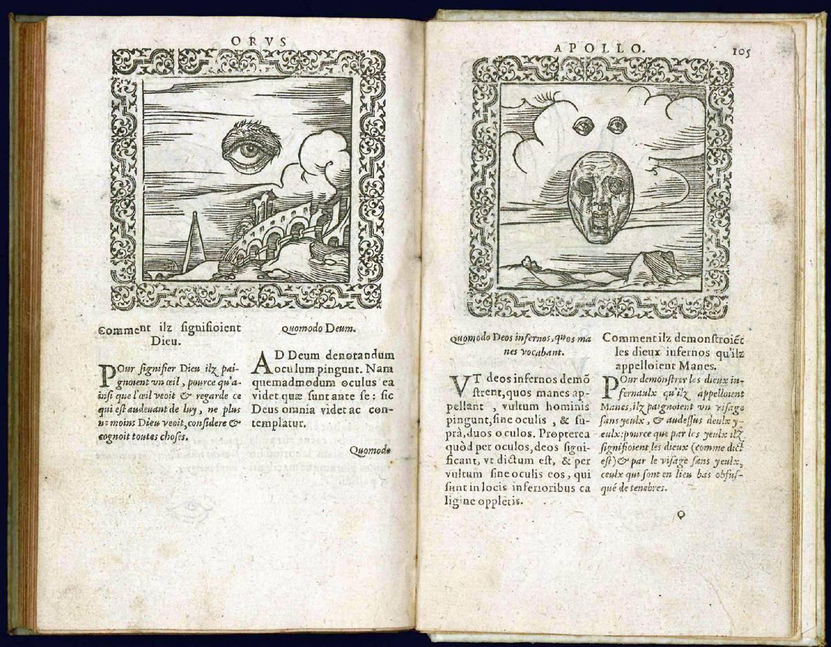 De sacris Aegyptiorum notis. Aegyptiacè expressis libri duo. Iconibus illustrate & aucti. Nunc primùm in Latinum ac Gallicum sermonem conversi