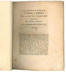 Sulla necessità di consultare i testi a penna nei lavori sul vocabolario lezione di Luigi Fiacchi detta nel dì 13 dicembre 1814