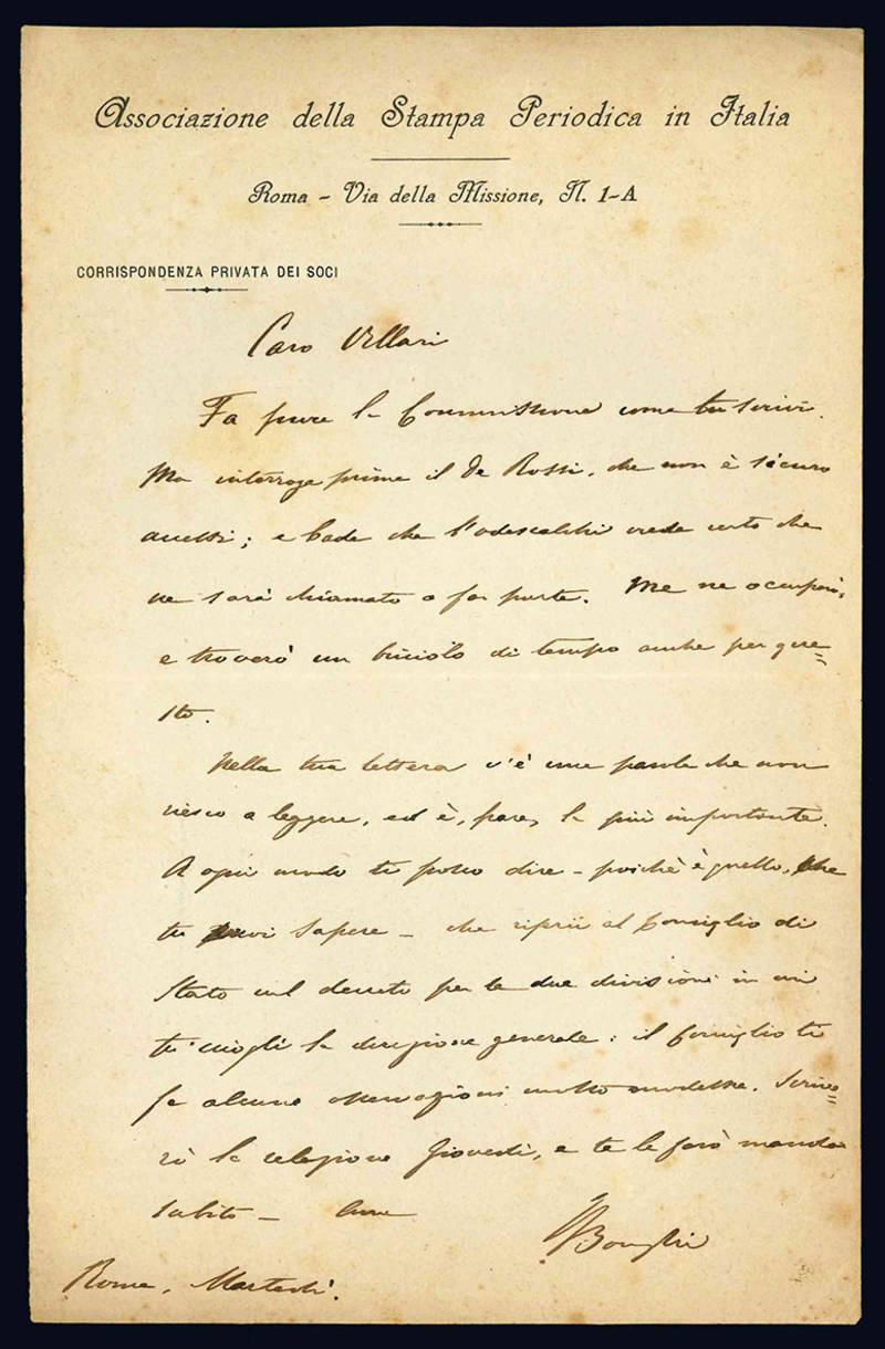 Lettera autografa a Pasquale Villari.