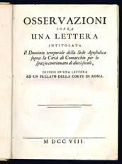 Osservazioni sopra una lettera intitolata Il Dominio temporale della Sede Apostolica sopra la Città