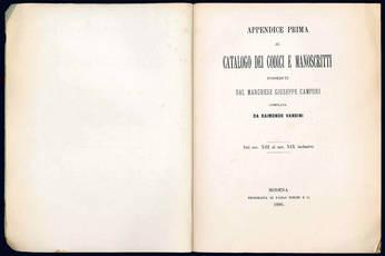 Appendice prima al Catalogo dei Codici Manoscritti posseduti dal Marchese Giuseppe Campori.