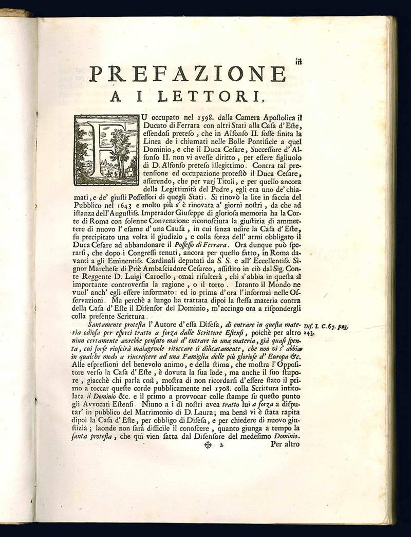 Ragioni della serenissima casa d'Este sopra Ferrara.