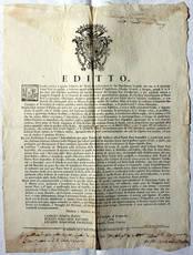 """Editto datato 1° ottobre 1774, col quale si vietava l'introduzione di """"Panni Neri"""""""
