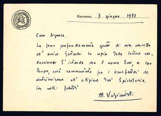 Cartoloni inviata a Ottorino Galantini. Ravenna: 7 giugno 1951.