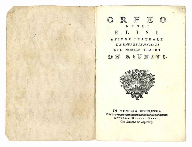 Orfeo negli Elisi azione teatrale