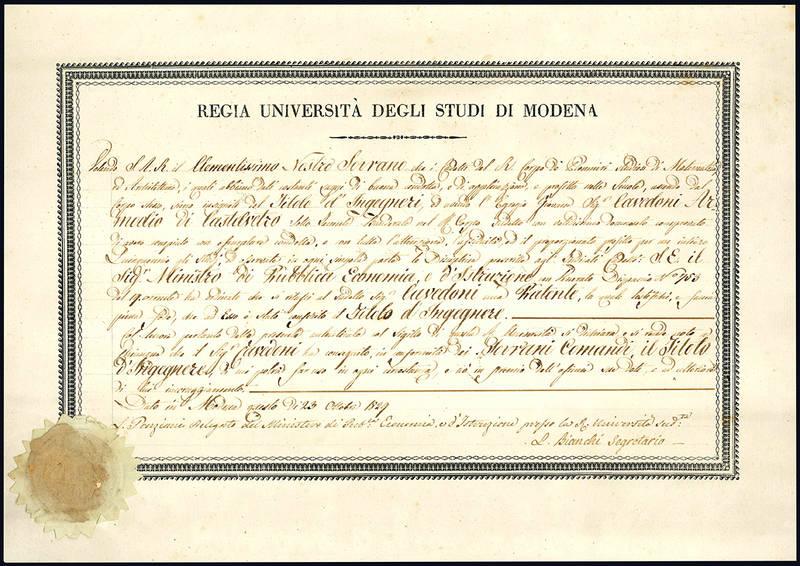 Patente con la quale si certifica il conferimento del titolo di ingegnere al Sig. Cavedoni Armodio di Castelvetro.