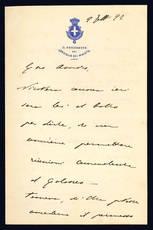 Lettera autografa. 9 febbraio 1892.