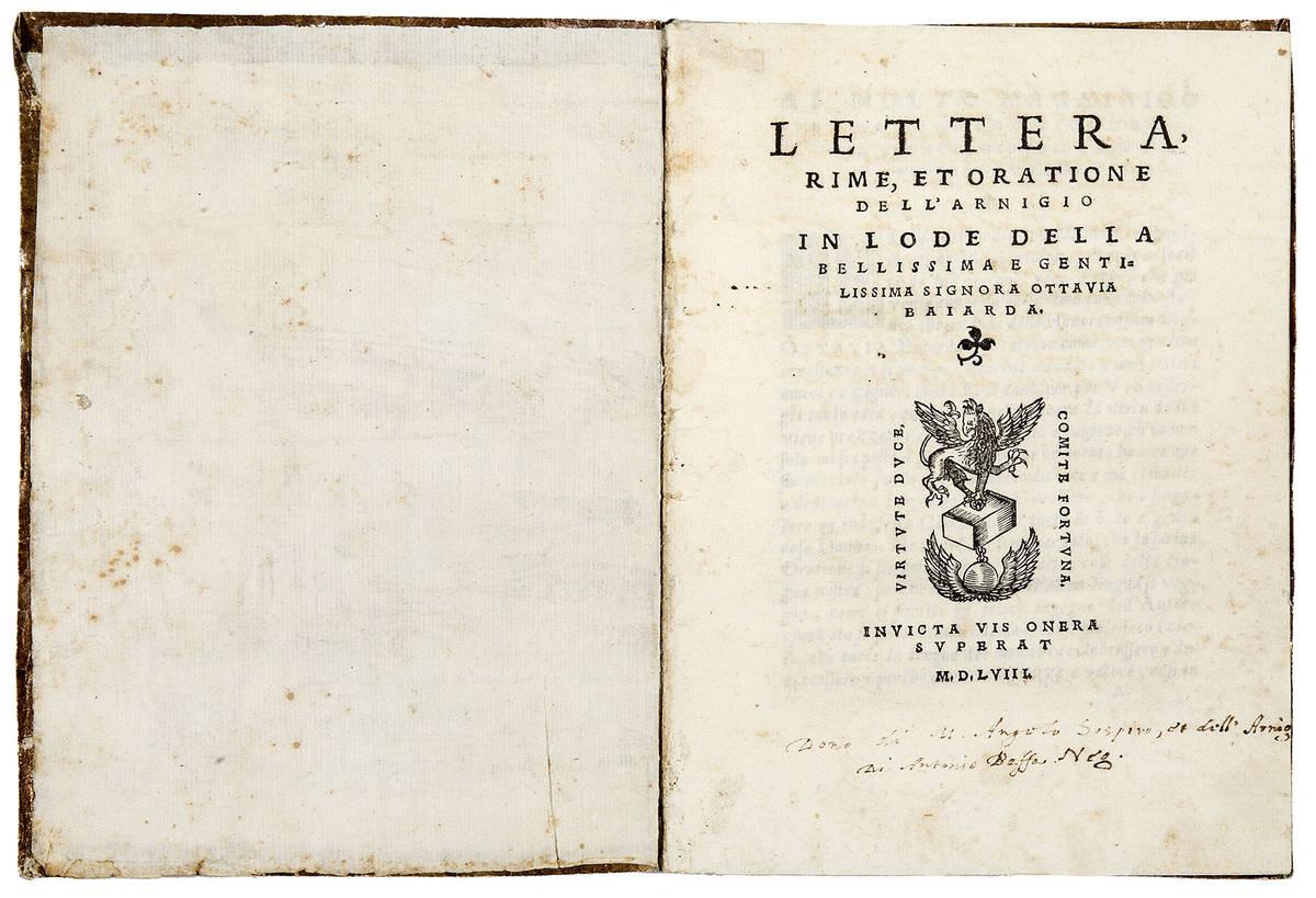 Lettera, rime, et oratione dell'Arnigio in lode della bellissima e gentilissima signora Ottavia Baia