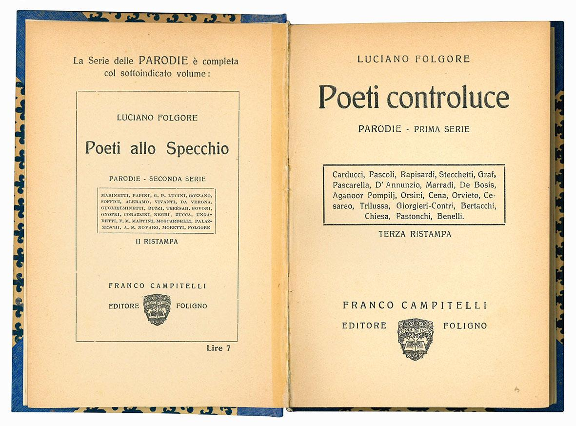 Poeti controluce. Parodie - Prima serie. Terza ristampa. (Insieme a) Poeti allo specchio. Parodie. Seconda serie.