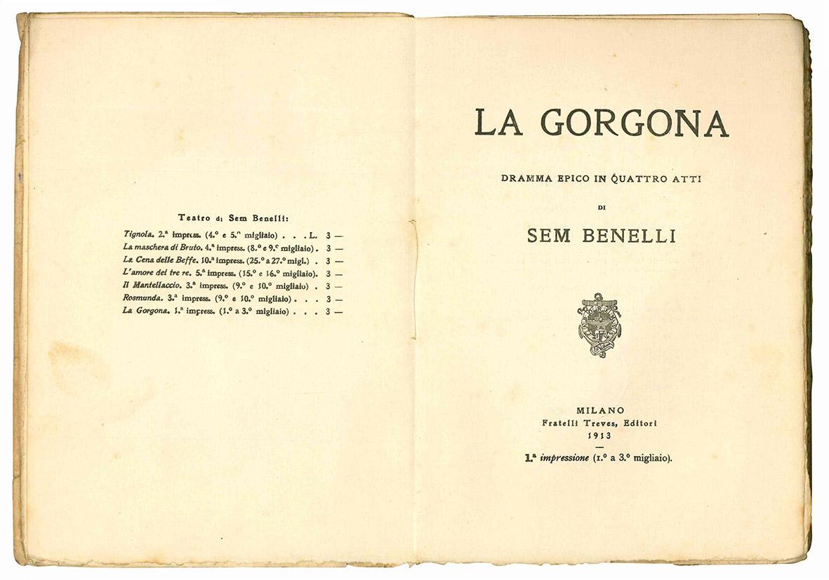 La Gorgona. Dramma epico in quattro atti. I° impressione.