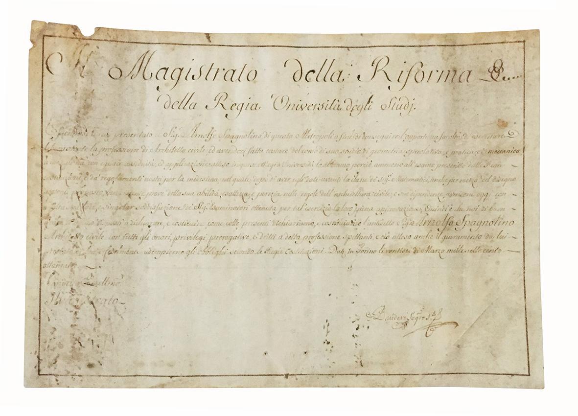 Il Magistrato della Riforma &c. della Regia Università degli Studi. Torino, 26 Marzo, 1783