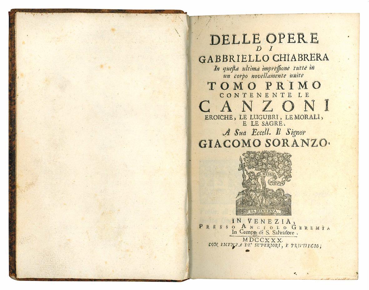 Delle opere di Gabbriello Chiabrera, in questa ultima impressione tutte in un corpo novellamente unite. Tomo primo (-quarto).