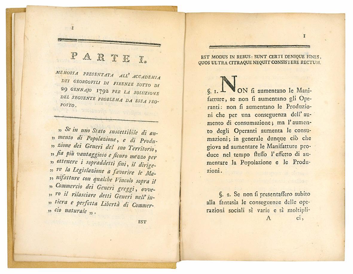 Esame del commercio attivo toscano e dei mezzi di estenderlo, per ottenere l'aumento della popolazione e della produzione di Matteo Biffi Tolomei patrizio fiorentino.