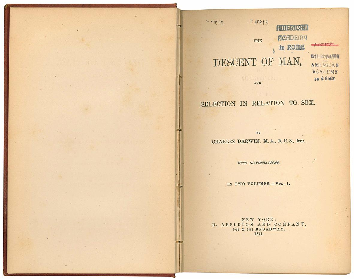The descent of man, and selection in relation to sex. By Charles Darwiin, M.A., F.R.S., EEtc. with illustrations. In two volumes. - Vol. I (-II).