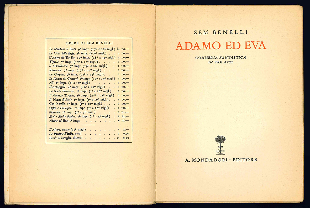 Adamo ed Eva. Commedia fantastica in tre atti.