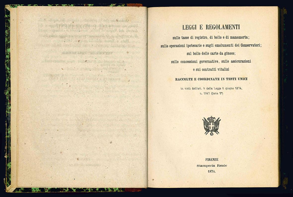 Leggi e regolamenti sulle tasse di registro, di bollo e di manomorta.