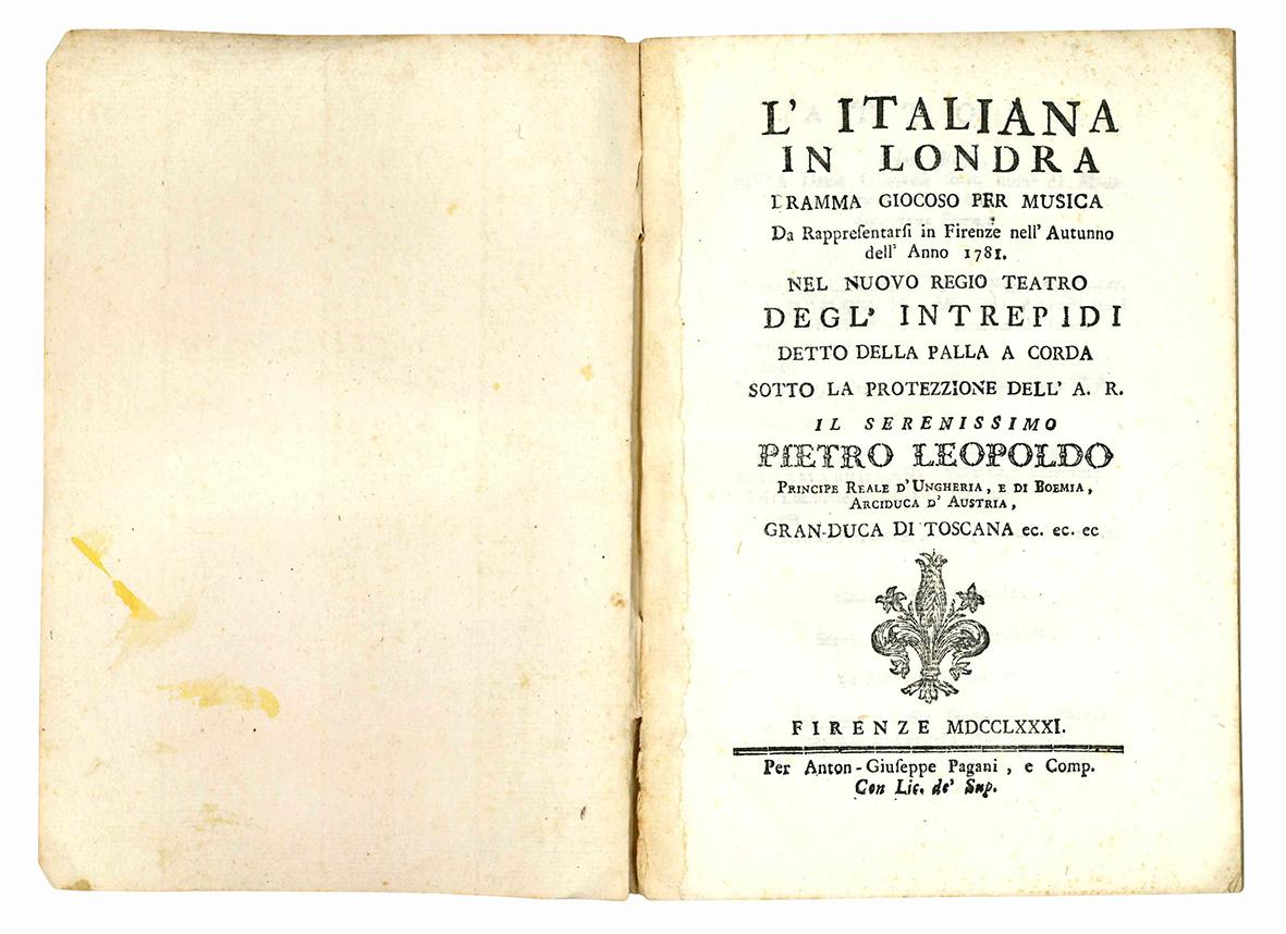 L'Italiana in Londra dramma giocoso per musica