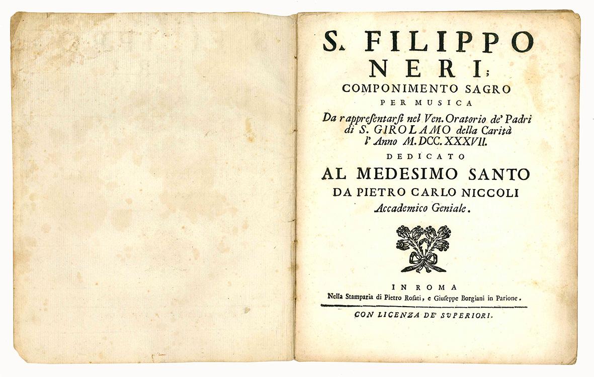 S. Filippo Neri componimento sagro per musica