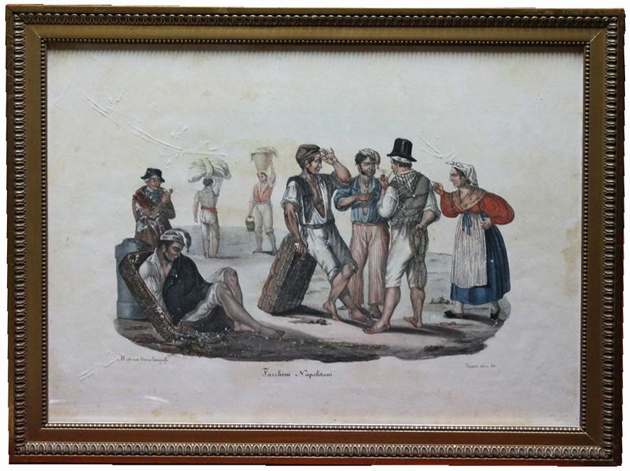 Serie di 4 grandi scene di vita napoletana di metà Ottocento in litografia a vivaci colori rialzati con gomma arabica.